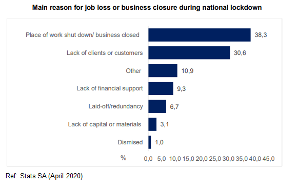 Main reason for job loss or business closure during national lockdown